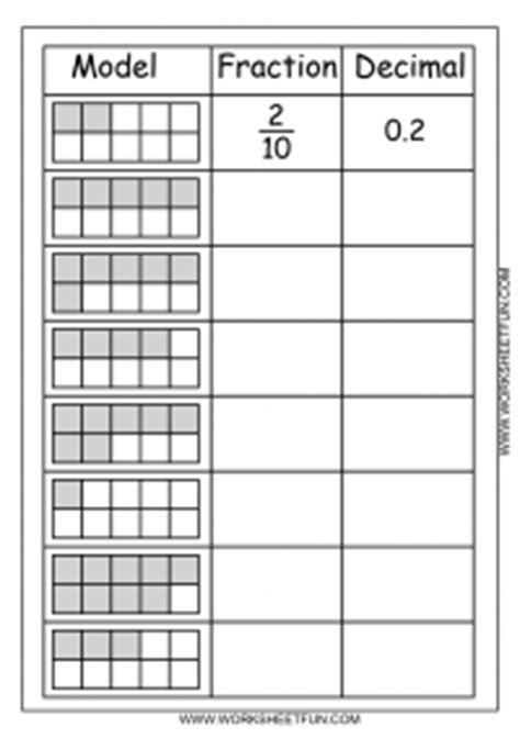 worksheets with fractions and decimals decimal model free printable worksheets worksheetfun