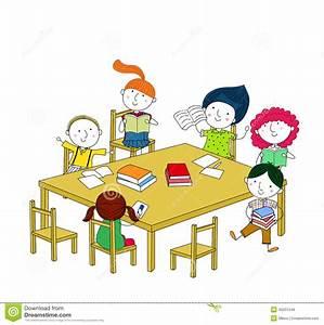 Gedeckter Tisch Kinder : kinder schreiben und lesen und sitzen am tisch vektor abbildung illustration von stuhl ~ Orissabook.com Haus und Dekorationen