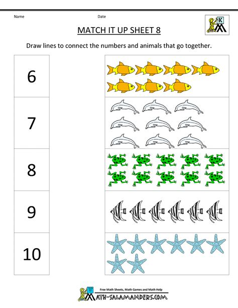 math worksheets kindergarten 364 | math worksheets kindergarten match it up 8