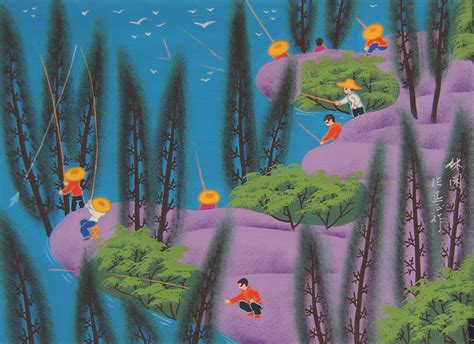 fishing chinese folk art painting