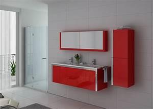 Meuble Double Vasque Salle De Bain : meuble double vasque rouge dis025 1500co meuble double ~ Edinachiropracticcenter.com Idées de Décoration