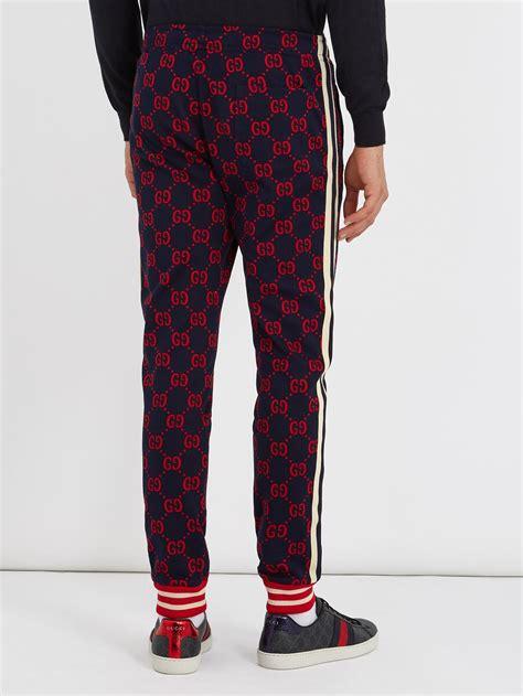 gucci gg jacquard slim leg cotton jersey track pants