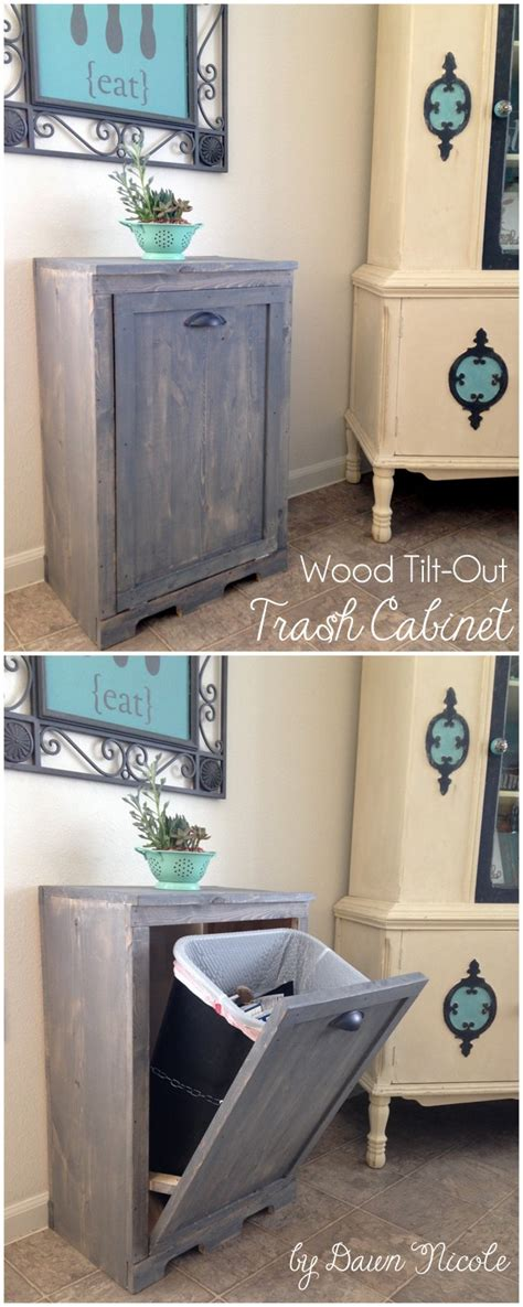 diy wood tilt  trash  cabinet