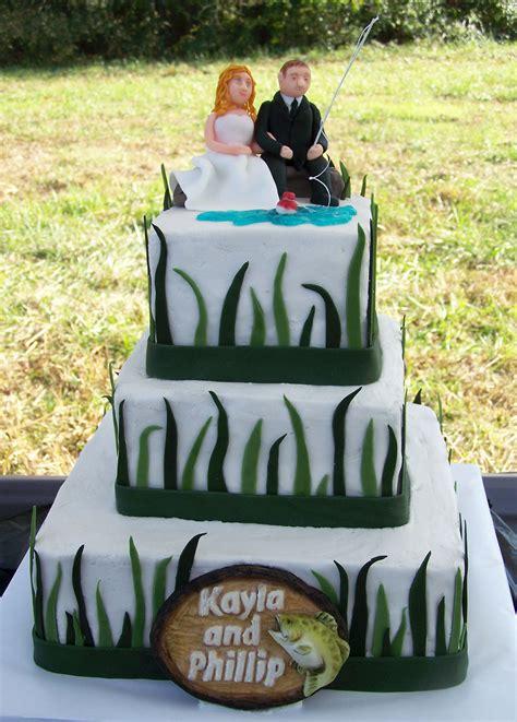 fishing themed wedding cake   custom fondant bride