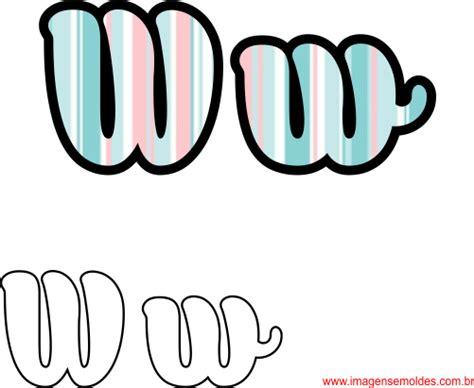 molde da letra w cursiva