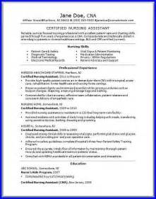 Skills And Abilities On Resume For Cna by Cna Resume Skills Bio Exles