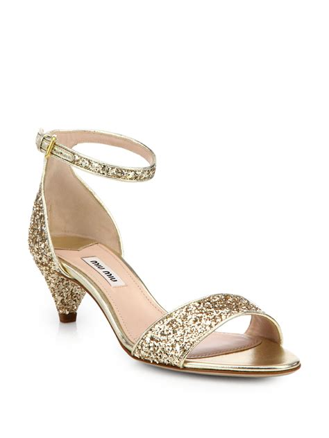 lyst miu miu jeweled glitter kitten heeled sandals