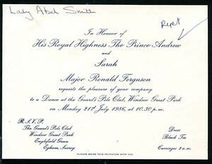 RARE INVITATION GUARD'S POLO CLUB WEDDING PRINCE ANDREW ...