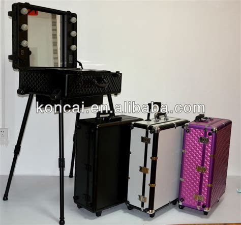 train case with lights zebra pvc pattern rolling trolley cosmetic train case with