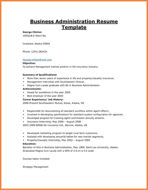 Business Management Resume Exles by 11 Business Administration Resume Exles Statement
