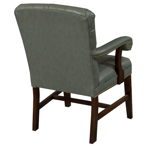 planto used wood tufted leather conference chair blue