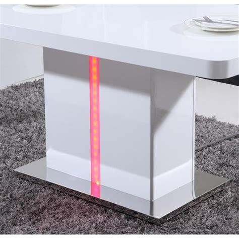 desserte de cuisine laser table à manger 160cm laqué blanc brillant avec led