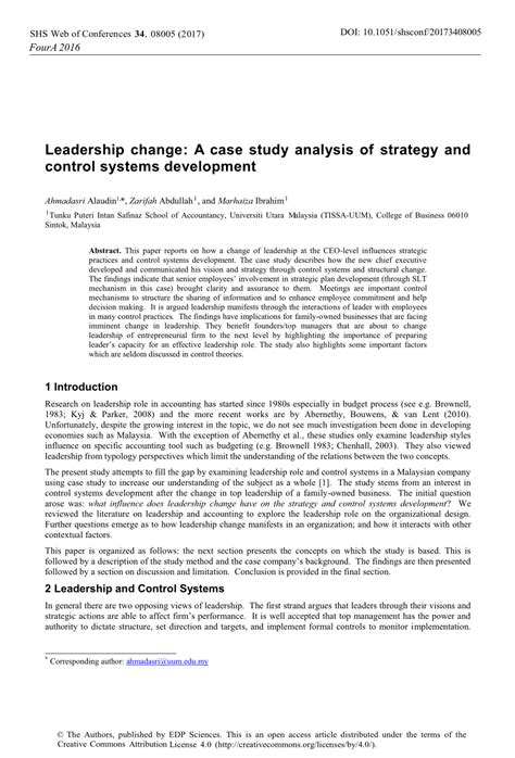 leadership change  case study analysis  strategy