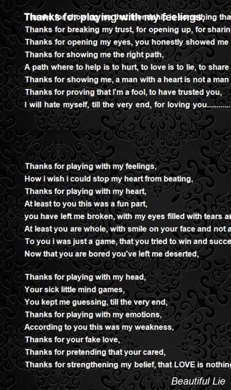 playing   feelings poem  beautiful lie