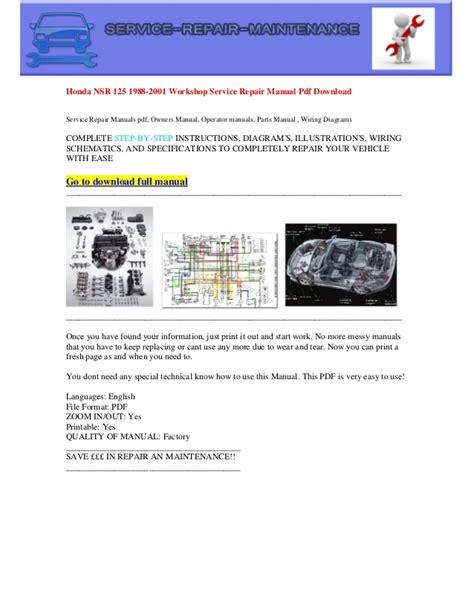honda nsr 125 1988 2001 electrical wiring diagram pdf