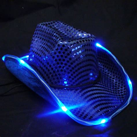 blue led flashing cowboy hat sureglowcom