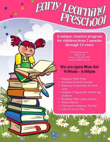 5 free daycare flyer templates hloom 990 | Early Learning Preschool Flyer