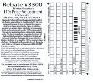 menards  price adjustment rebate  purchases