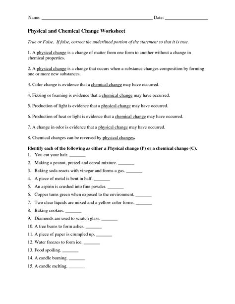 lovely worksheet  physical chemical properties