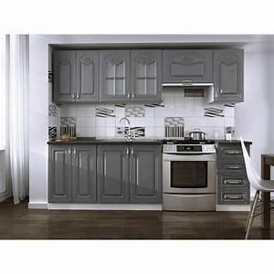 Cuisine Complète Pas Cher : cuisine compl te 240cm dina grise avec moulures moderne ~ Melissatoandfro.com Idées de Décoration
