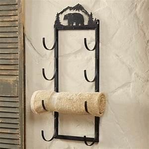Bear wall door mount towel rack
