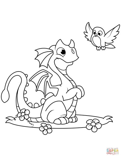 cute dragon  bird coloring page  printable coloring pages