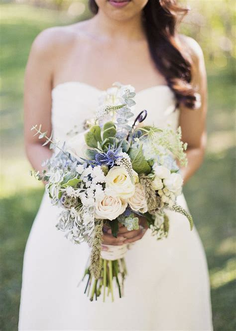 natural wedding bouquet rustic blue  green wedding