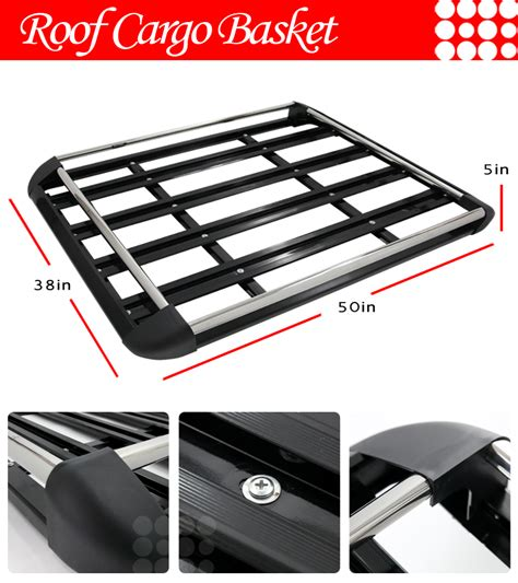 For Car Roof Cargo Top Rack Luggage Carrier Basket Black