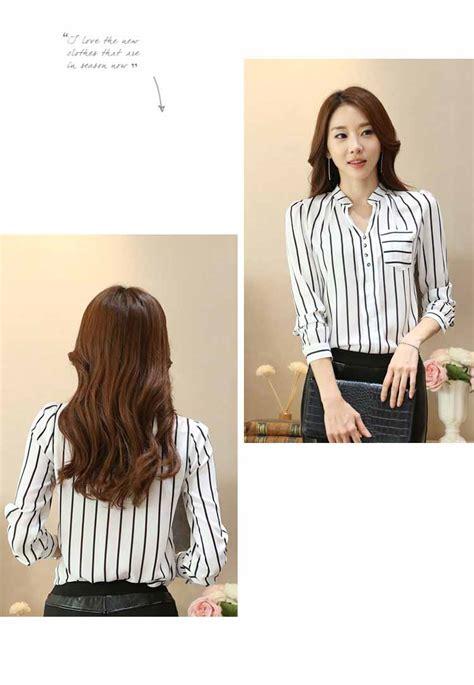 Wk100556 Baju Import baju atasan putih garis garis import myrosefashion