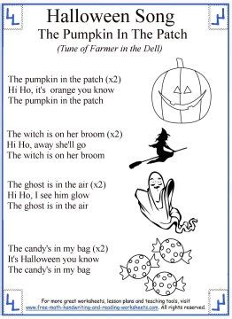 halloween preschool songs songs for printable lyrics with coloring 708
