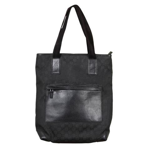 gucci italian black gg monogram canvas tote handbag