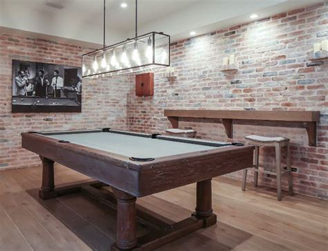 Games Room Exposed Brick Walls Bring A Rustic Feel To