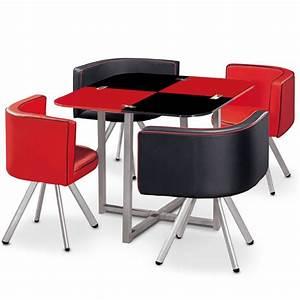 Table Cuisine Scandinave : table scandinave et chaises vintage 90 rouge et noir pas cher scandinave deco ~ Melissatoandfro.com Idées de Décoration