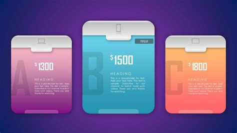 design packages pricing table products comparison