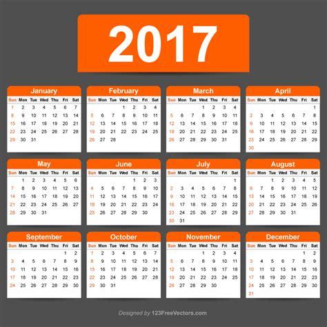 illustrator calendar template 2017 calendar template illustrator 123freevectors