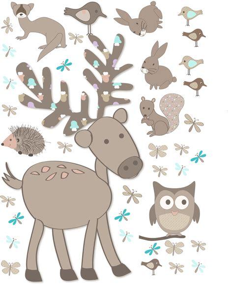sticker chambre bebe garcon sticker géant cerf et animaux de la forêt