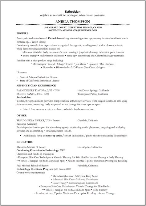 New Esthetician Resume Objectives by Esthetician Resume Sle Http Www Resumecareer Info Esthetician Resume Sle 3 Resume