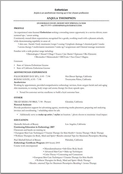 esthetician resume sle http www resumecareer info