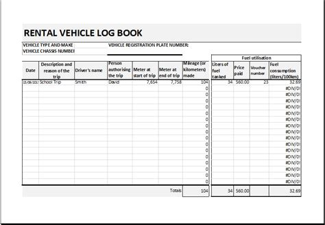 car rental record sheet  excel word excel templates