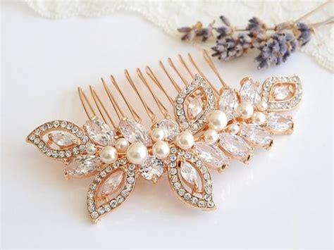 Rose Gold Wedding Hair Comb, Crystal Leaf Wedding