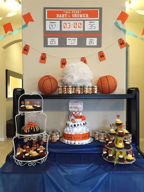 star basketball themed baby shower dessert table