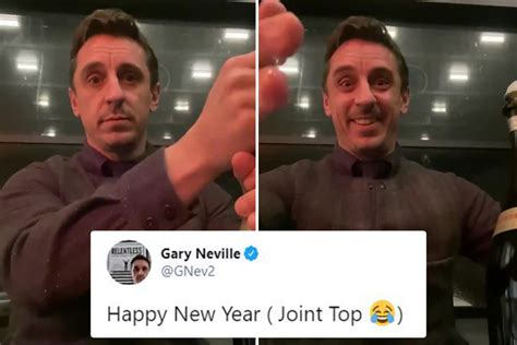 Gary Neville toasts Man Utd going 'joint top' with bottle ...
