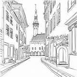 Coloring Estonia Medieval Town Drawing Buildings Perspective Tallinn Colouring Colorir Desenhos Dessin Drawings Objects Zeichnen Adult Building Adults Kunst Perspektive sketch template