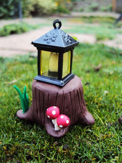 garden lantern polymer clay tree stump miniature