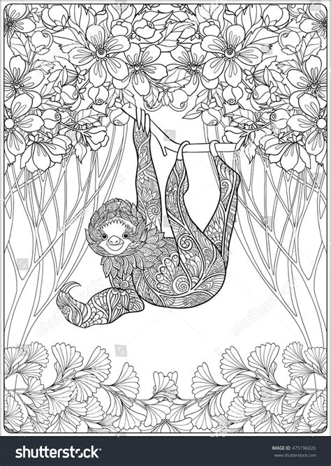 coloring page  lovely sloth  forest coloring book
