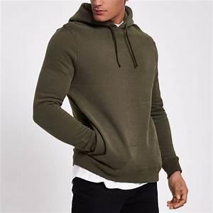 Dark khaki green zip sleeve hoodie - Hoodies - Hoodies u0026 Sweatshirts - men