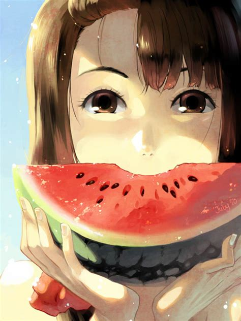 watermelon anime girl eyes delicious fav images