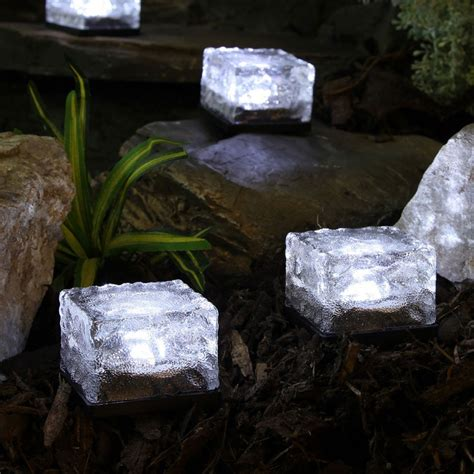 solar brick lights 4 white solar garden glass brick lights