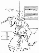 Coloring Splinter Shredder Donatello Coloringtop sketch template
