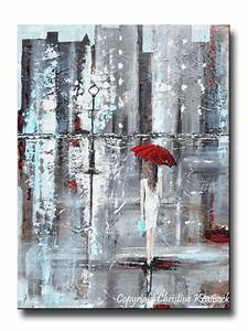 Giclee Print Art Abstract Painting Girl Red Umbrella City